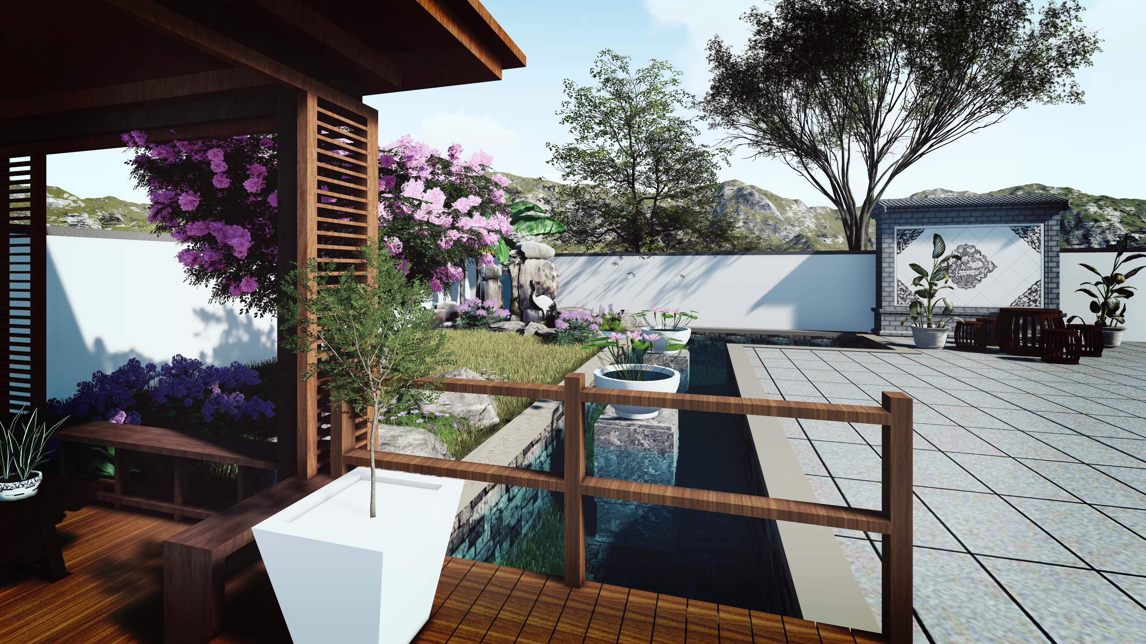 华府花园庭院升级改造,别墅私家花园设计,屋顶花园设计,阳台花园设计