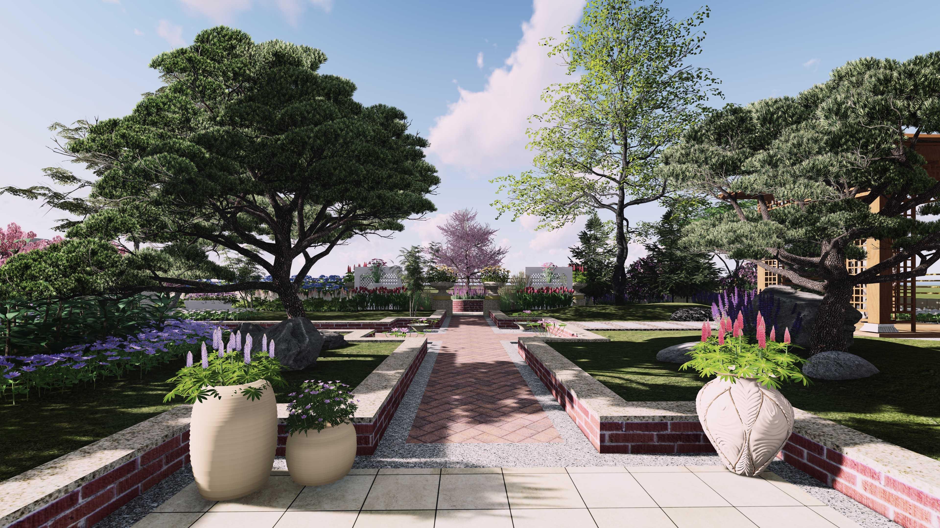 屋顶花园园林景观设计局部效果图三