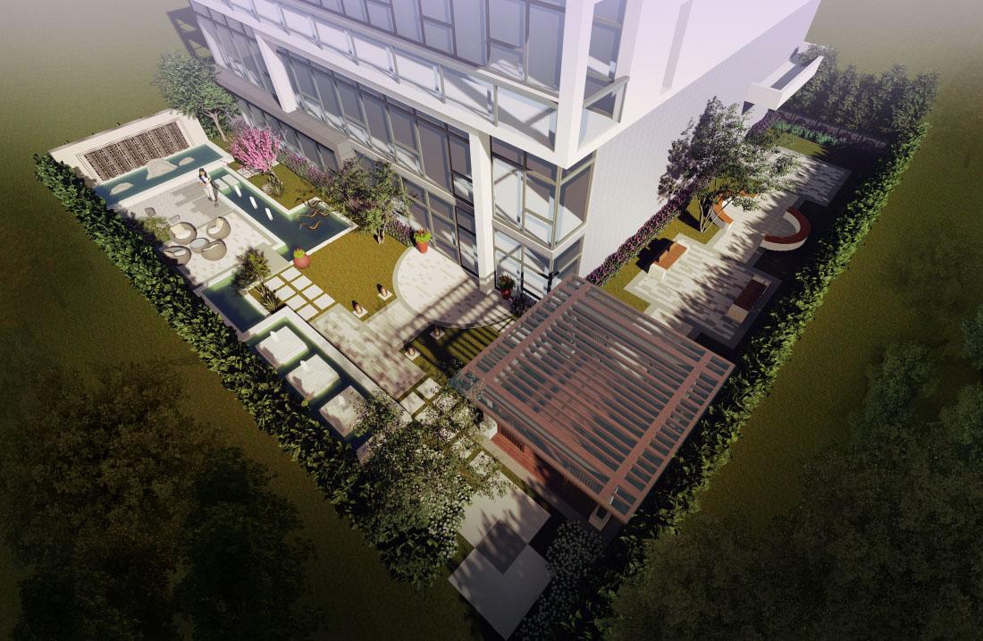 工业园花园景观设计效果图俯瞰