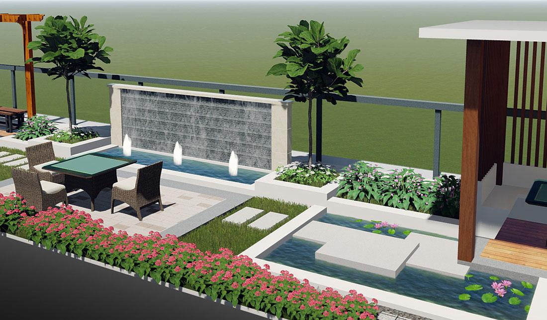 工业园天台景观设计效果图