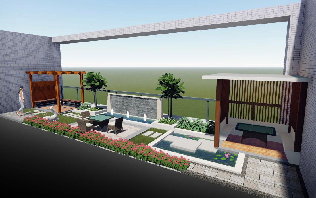 工业园天台景观设计效果图全景