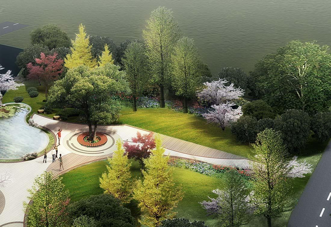 工业园区小游园景观设计效果图一