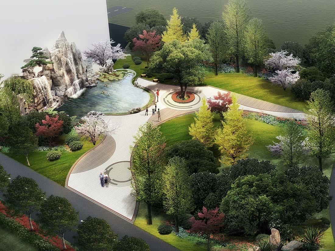 工业园区小游园景观设计效果图二