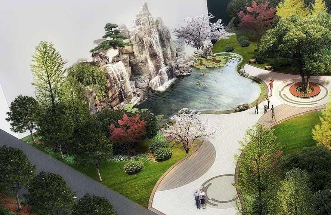 工业园区小游园景观设计效果图三